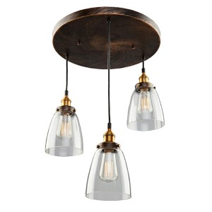Greenwich Multi Tone Brown Three-Light 10-Inch Wide Mini Pendant with Round Canopy