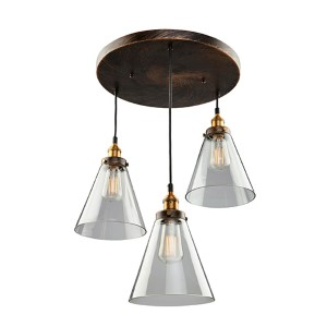 Greenwich Multi Tone Brown Three-Light 19-Inch Wide Pendant