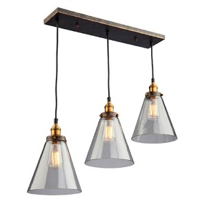 Greenwich Multi Tone Brown Three-Light 30-Inch Wide Island Pendant
