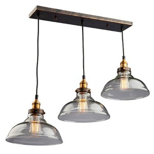 Greenwich Multi Tone Brown Three-Light 10-Inch Wide Mini Pendant with Rectangle Canopy