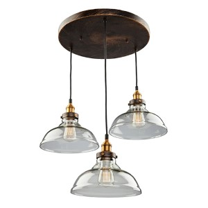 Greenwich Multi Tone Brown Three-Light 13-Inch Wide Pendant