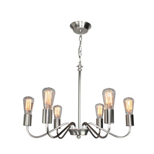 Vintage Brushed Nickel Six-Light Chandelier