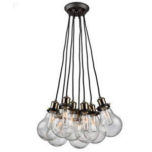 Edison Vintage Brass Eight-Light Chandelier