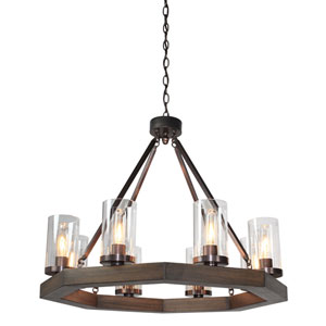 Jasper Park 29-Inch Bronze Eight-Light Chandelier