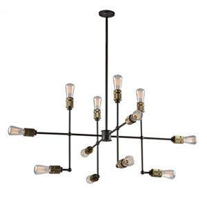 Jersey Vintage Brass 12-Light Chandelier