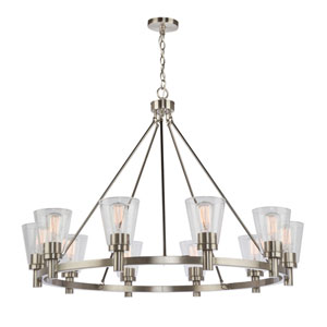 Clarence Brushed Nickel Ten-Light Chandelier