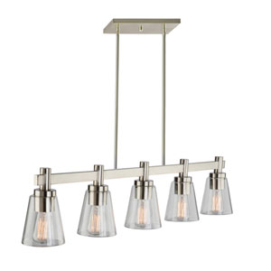 Clarence Brushed Nickel Five-Light Island Pendant