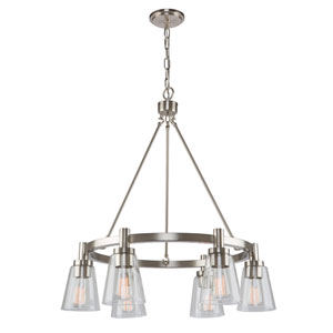 Clarence Brushed Nickel 29-Inch Six-Light Chandelier