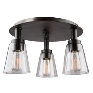 Clarence Oil Rubbed Bronze Three-Light Flush Mount