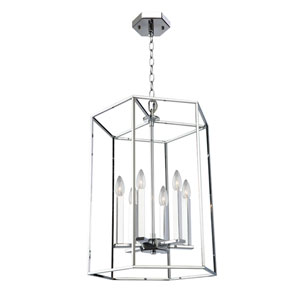 Modern Elegance Chrome 22-Inch Six-Light Chandelier