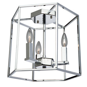 Modern Elegance Chrome Three-Light Flush Mount