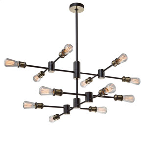 Tribeca Matte Black and Satin Brass 12-Light Pendant