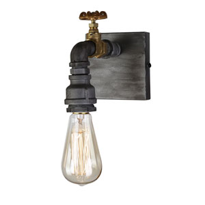 American Industrial Iron and Brass One-Light Wall Sconce