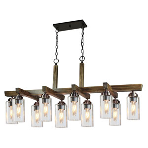 Home Glow Distressed Pine 10-Light Chandelier