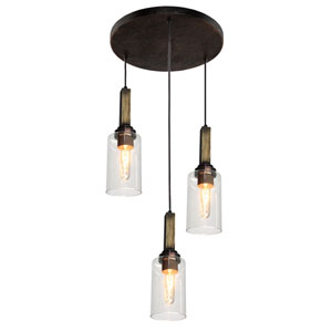 Home Glow Distressed Pine Three-Light Mini Pendant