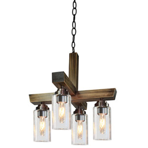 Home Glow Distressed Pine Four-Light Chandelier
