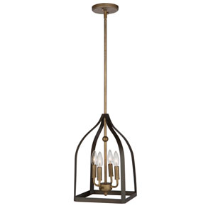 Worthington Oil Rubbed Bronze and Antique Gold 16-Inch Four-Light Pendant