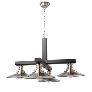 Ambrose Dark Wood and Brushed Nickel 31-Inch Four-Light Chandelier