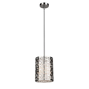 Bayview Chrome and White 8-Inch One-Light Mini Pendant