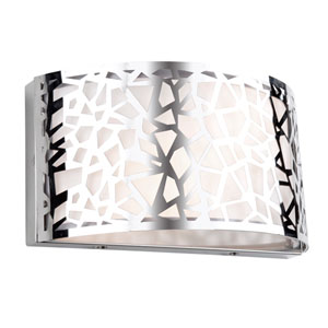 Bayview Chrome and White 12-Inch Two-Light Wall Sconce