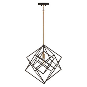Artistry Matte Black and Satin Brass 16-Inch One-Light Chandelier
