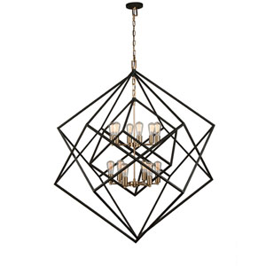 Artistry Matte Black and Satin Brass 47-Inch Twelve-Light Chandelier