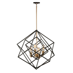 Artistry Matte Black and Satin Brass 24-Inch Four-Light Chandelier