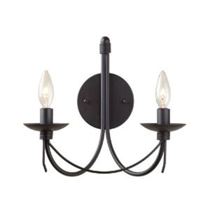 Wrought Iron Two-Light Black Wall Sconce