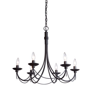 Wrought Iron Six-Light Black Chandelier
