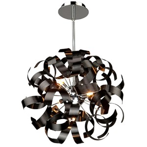 Bel Air Black Five-Light 18-Inch Wide Globe Pendant