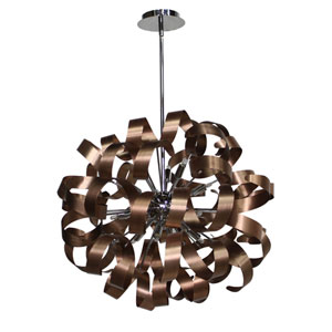 Bel Air Brushed Copper and Chrome 24-Inch Twelve-Light Pendant