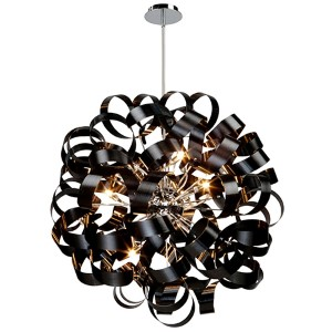 Bel Air Black 12-Light 34-Inch Wide Globe Pendant