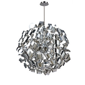 Bel Air 34-Inch Chrome and Brushed Aluminum 12-Light Pendant