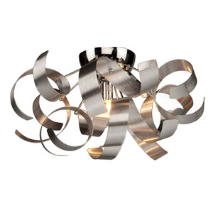 Bel Air Chrome and Brushed Aluminum Four-Light Flush Mount