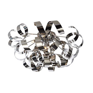 Bel Air Brushed Nickel and Chrome Five-Light Flush Mount