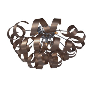 Bel Air Brushed Copper and Chrome Five-Light Flush Mount