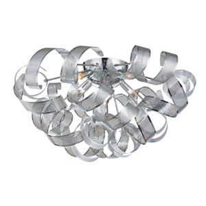 Bel Air Chrome Mesh Leaves Five-Light Flush Mount