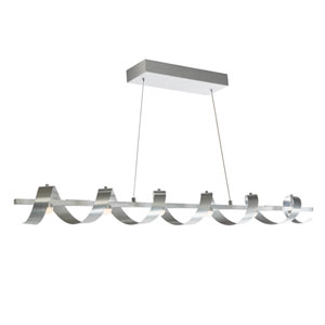 Rolling Hills Brushed Aluminum Six-Light LED Linear Pendant