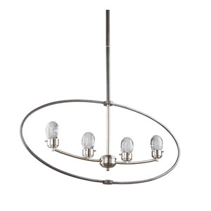 Kingsford Slate and Brushed Nickel 3-Inch Four-Light LED Chandelier