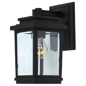 Fremont Black One-Light 5-Inch Wide Outdoor Wall Sconce with Clear Four Side Glass