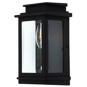 Fremont Black One-Light 5-Inch Wide Outdoor Wall Sconce with Clear Three Side Glass
