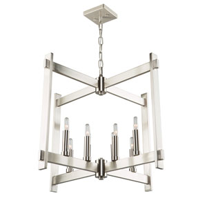 Cityscape Polished Nickel Eight-Light Pendant