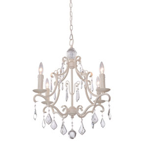 Vintage Four-Light Antique White Chandelier