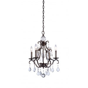 Vintage Four-Light Dark Brown Chandelier
