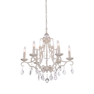 Vintage Six-Light Antique White Chandelier