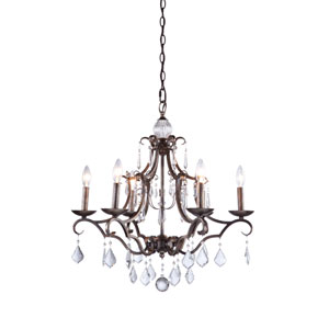 Vintage Six-Light Dark Brown Chandelier