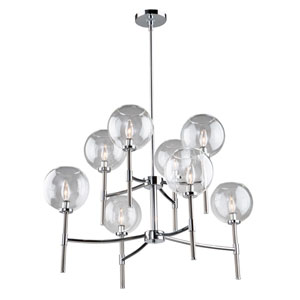 Hamilton Chrome and Brushed Nickel 34-Inch Eight-Light Chandelier