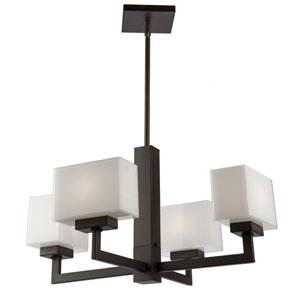 Cube Light Oil Rubbed Bronze 23-Inch Four-Light Chandelier