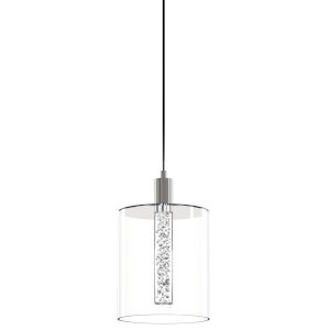 Velo Polished Chrome Integrated LED Mini Pendant with Bubble Glass