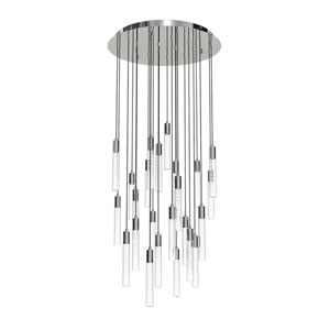 Seraph Polished Chrome One-Inch LED 24-Light Pendant with Gradient Glass